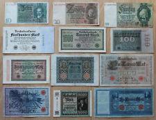 Lot 12 Banknoten Deutsches Reich 1908 - 1929