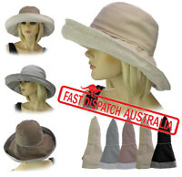 Ladies Wide Brim Fold-up Foldable Packable Linen Cotton Sun Block Hat Wide Brim