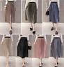 Vintage Women Pleated Metallic Look Midi Shiny Skirt Velvet Long Skirt