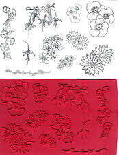 unmounted rubber stamps   Morning Glory & Flowers collection  10 images