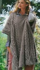 Ladies Long Cable Poncho  Knitting Pattern