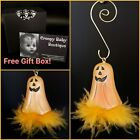 Pumpkin Halloween Ornament Feather Haunters 3 PC Hook FREE Gift Box!! Tree Prop