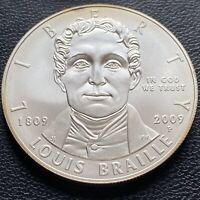 USA 2009 P Louis Braille One Dollar Gedenkmünze BU Silber #24289