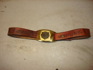 "HONDA GOLD WING GOLD BELT BUCKLE & BELT BROWN 36 "" BELT CUSTOM LEATHER TOOL ING"