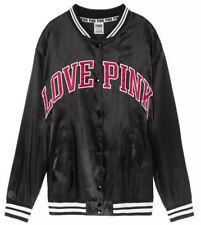 5fd7f60d7b5 Pink Victoria s Secret Satin Bomber Jacket Top Black Sz Xsmall NWT