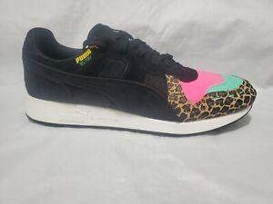 Puma RS100 Animal Print 370802-01 Mens Shoes Cheetah Pink Teal Black size 7