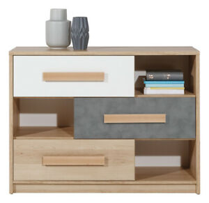 Aygo Modern Cupboard Cabinet Storage Unit with Drawers in White & Oak & Grey
