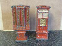 2x VINTAGE DIE-CAST RED TOY TICKET & VENDING TYPE MACHINES