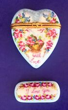 Atelier De Limoges Peint Main Hand Painted Signed Heart Trinket Box