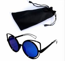 Circular Sunglasses Black Frame Blue Lens Shades with Pouch