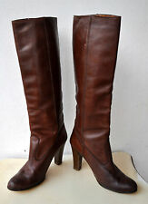 Charles Jourdan Rare Vintage Knee-High Full-Grain Leather Boots Sz 7.5 Authentic