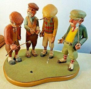 Vintage 1990 Hand Crafted J. F. Larkin Golfing Gentlemen Mid Century Design