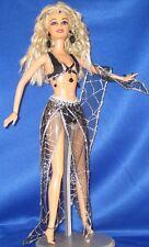 Silver & Black Spiderweb Bellydancer~OOAK Barbie Doll Repaint