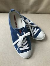 1342ec2b62aac Prada Womens Shoes 39 Blue Suede Lace Up Sneakers