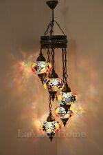 5 Globe Turkish Moroccan Mosaic Hanging Ceiling Pendant Chandelier Light Lamp