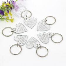 Personalized Keyring Engraved Silver Love Hearts Keychain Wedding Present Tags