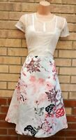 NEXT WHITE PINK FLORAL LACE SHORT SLEEVE SATIN SKATER A LINE PROM TEA DRESS 14 L