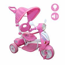 Triciclo Vespina per Bimbo Bambini con Cappottina e Maniglia Direzionabile Rosa