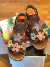 Rachel Shoes Girls Toddler Kids Brown Sandal with Flowers Multicolor New