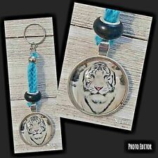 Key chain white tiger charm handcrafted blue thread crochet
