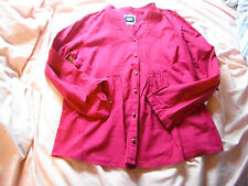 Unworn Size 14 100% Cotton Pink Maine Top With Tie Up Sleeves & Pleated Yoke.