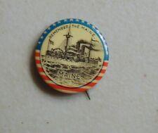 New ListingUss Maine Spanish-American War Navy pin button military