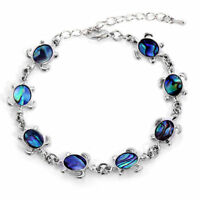 Sea Turtle Silver Tone Chain Bracelet With Lobster Clasp Women Girl Gift Jewelry