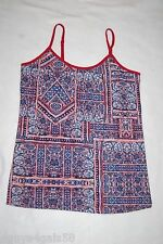 Womens Knit Cami Tank Top RED WHITE BLUE Abstract Geometric Print SIZE S 4-6