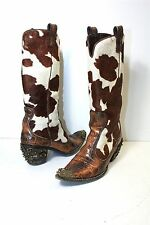Giuseppe Zanotti Womens Calf Hair Brown Embellished Crystals Cowboy Boots SZ 36