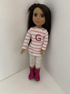 "Battat Glitter Girls Sarinia 14"" Doll Brown Hair Rooted Lashes"