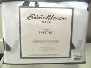 Eddie Bauer Home Queen LABRADOR FIELDS 4 Pc Sheet Set 200 Thread Ct 100% Cotton
