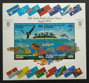1993 Australia Nauru Birds Fish Corals Flags MS (Overprint Singapore Exhibition)