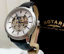 Rotary Automatic Mens Watch Skeleton Clear Back Waterproof RRP£210 (r36