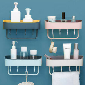 Kitchen Bathroom Shelf Shower Rack Wall Mounted Organizer Holder Hook Storage