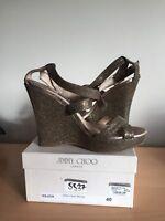Jimmy Choo Bronze Heels, Size 40, Uk 7 Wedges, Stunning!