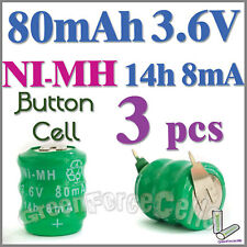 3 x Ni-MH 80mAh 3.6V button Rechargeable Battery w/ tab