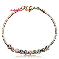 Rose Gold Filled Multicolor Rainbow Bracelet Made With Swarovski Crystal T20