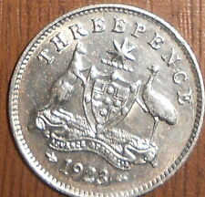 """1923   Australian Threepence With Luster """" g Exstremaly Fine """" VERY LOW MINTAGE"""