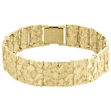 """Mens Real 10K Yellow Gold Solid Nugget Ore Style Fancy Link Bracelet 17mm   9"""""""
