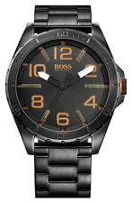 BRAND NEW HUGO BOSS 1513001 BERLIN BLACK STEEL ORANGE DIAL ACCENTS MEN'S WATCH