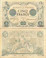 REPRODUCTION HAUTE QUALITé: BILLET 5 FRANCS - NOIR - 1873 - n°3