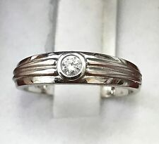 18k Solid white gold natural diamond solitaire band ring 0.12 ct VS quality