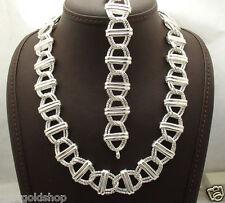 Bold Diamond Cut Double Curb Bracelet Necklace Set Real 925 Sterling Silver