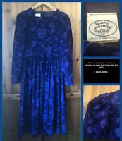 Vintage LAURA ASHLEY : Timeless Classic Floral Needlecord Folk Dress : UK 10