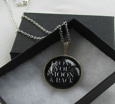Handmade I Love You to the Moon & Back - Black & White Pendant Necklace - Boxed