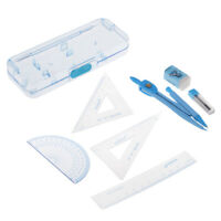 7 Geometry Tool Set Triangle Ruler Compass Pencil Eraser Protractor Math Set