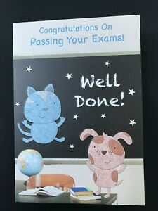 Exam congratulations card, cute cat and dog, embossed, glittered, 20 x 14 cm