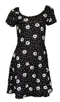 Ladies Black White Floral Daisy Jersey Skater Tea Tunic Summer Dress FREE P&P