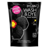 Dylon Wash & Dye Fabric & Clothes Machine Dye + Salt Large 350g Velvet Black