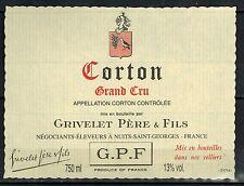 Etiquette de Vin - Bourgogne - Corton Grand Cru - Grivelet - Réf.n°180